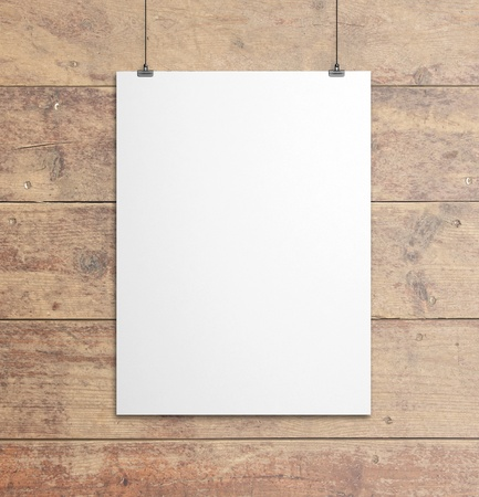 bulletin board: white paper clips and wood background Stock Photo