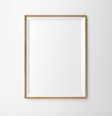 indoor photo: wooden frame on a white background