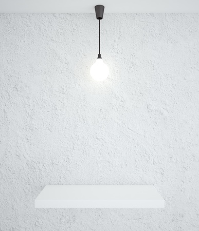 background abstracts: concrete interior with podium and lamp Stock Photo