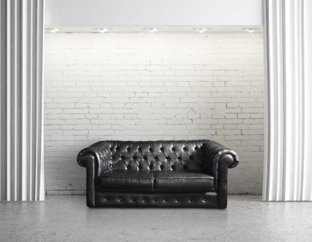 modern sofa: modern loft with leather sofa Stock Photo