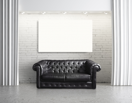 modern loft with leather sofa and cardboard photo