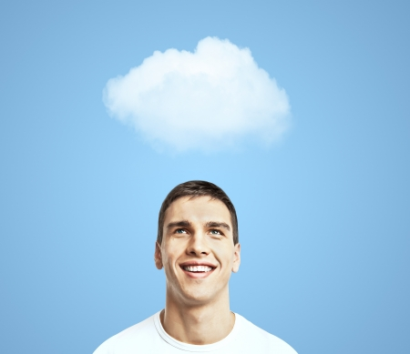funny image: man thinking and cloud over head