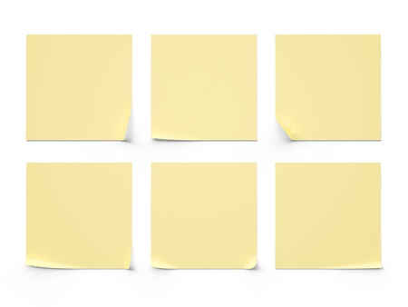paper clips: six yellow sticker on a white background