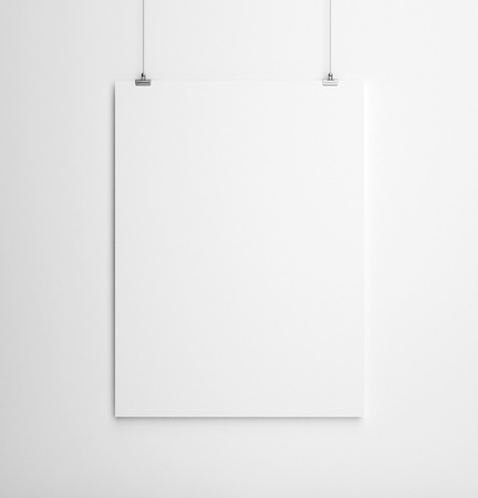 frame on wall: paper card on white wall