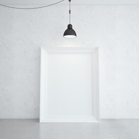 marco blanco en la habitación y la lámpara