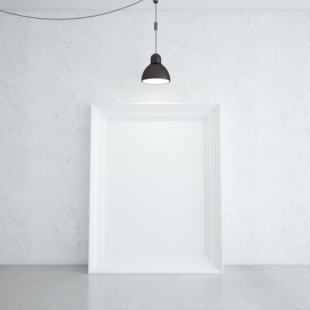 white frame in room and lamp photo