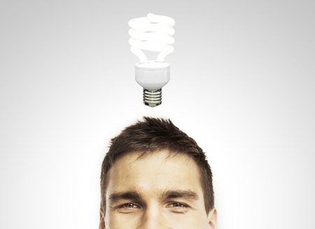 young man with lamp, idea concept photo