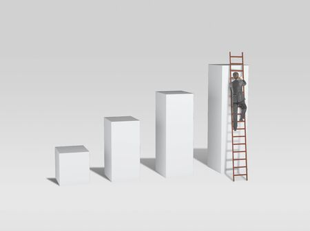 man climbing on ladder and busines chart photo