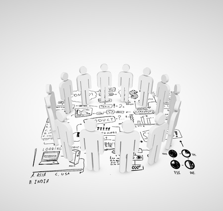 3d people stand in a circle on business strategy photo
