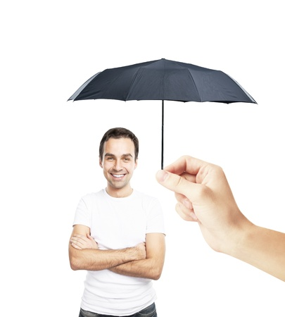 man with an umbrella closes to rain photo