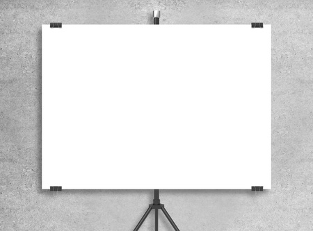 blank poster on tripod and concrete wall stock photo picture and