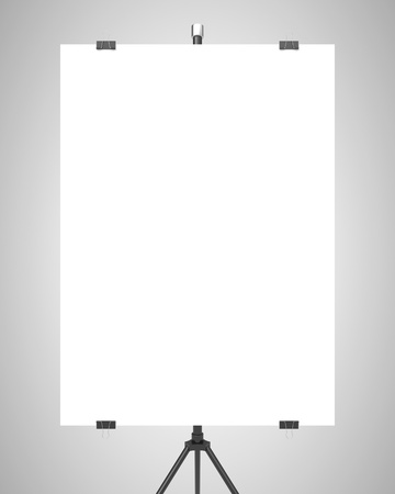 ecran: blank poster on tripod on gray background Stock Photo
