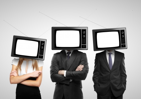 people with tv head on a gray background photo