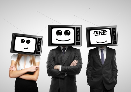head support: businesspeople with tv head on a gray background