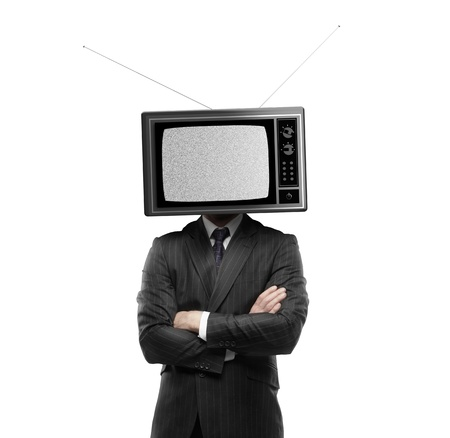 retro tv: businessman with tv head on a white background