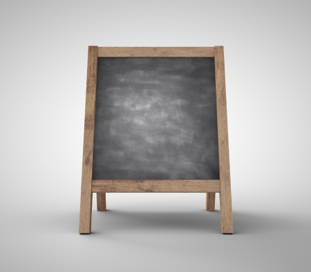 antique sleigh: blank black chalkboard on gray background