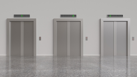 three elevator with closed doors, 3d render photo