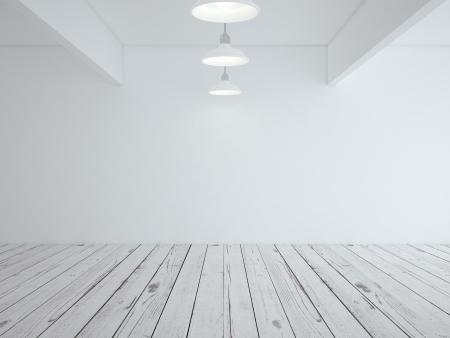 simplicity: habitación tipo loft blanco y piso de madera Foto de archivo
