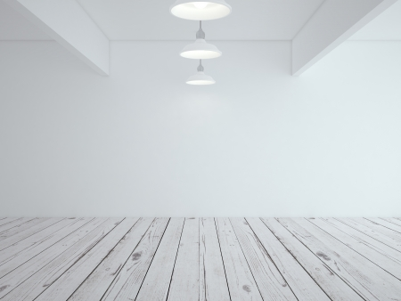 white loft room and wood floor Stock Photo - 18665189