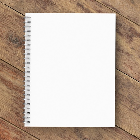 notebook page: notebook on a wooden background Stock Photo