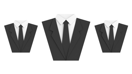three paper suit on white background Stock Photo
