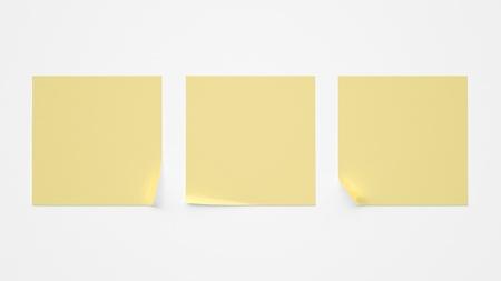 sticky notepaper: three sticker on a white background Stock Photo