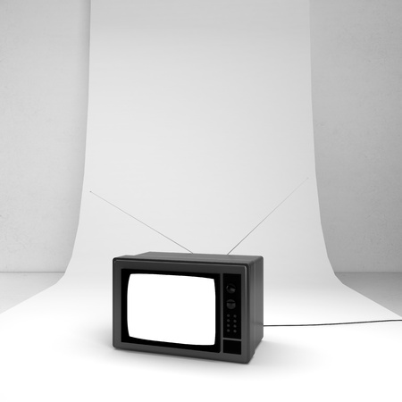 retro television on a white background photo