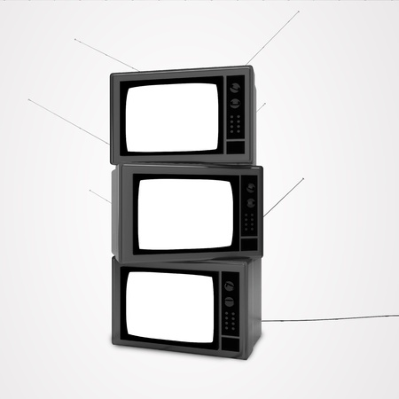 three television on a white background photo