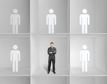 group of young adults: businessman and 3d people standing on a shelf