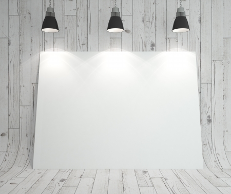 blank cardboard on white wooden background photo