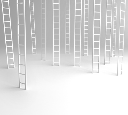 ladders: many ladder on a white background Stock Photo