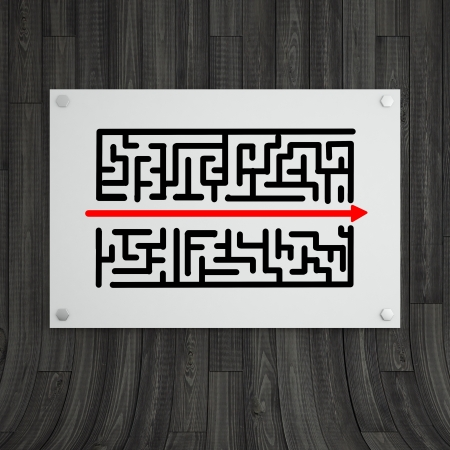 poster with maze on gray wooden background Stock Photo - 18665244