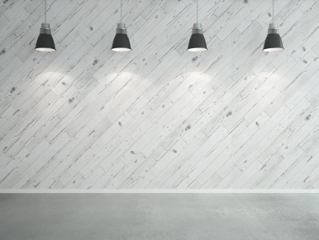 lighting effects: white wooden laminate wall and lamps Stock Photo