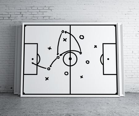 plan van aanpak: tactiek regeling op frame op bakstenen muur Stockfoto