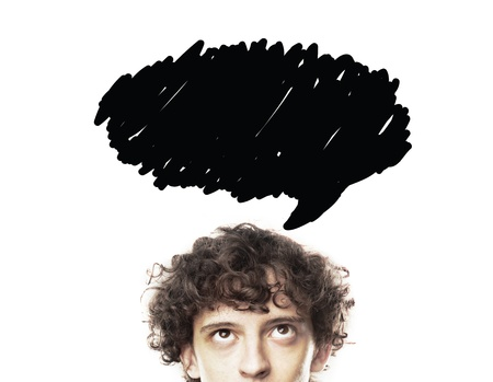 young man thinking with speech bubble photo