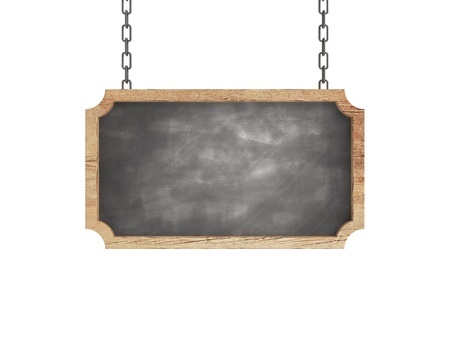 antique sleigh: blank chalkboard in wood frame on chains Stock Photo