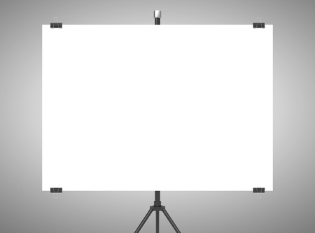 flipchart: blank flipchart on gray background Stock Photo