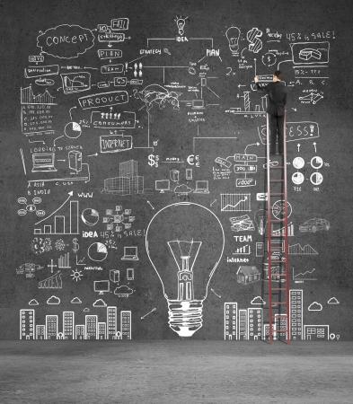 estrategia: hombre de negocios que sube en escala de dibujo plan de negocios