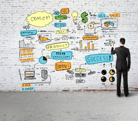 man drawing business concept on brick wall photo