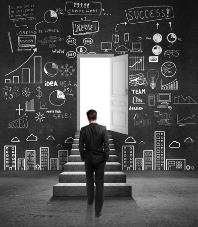 man looking at opened door and drawing business concept Stock Photo - 18761103