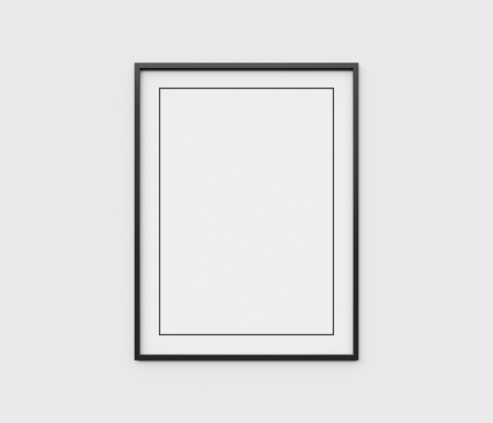 3d interior picture: black frame on white wall