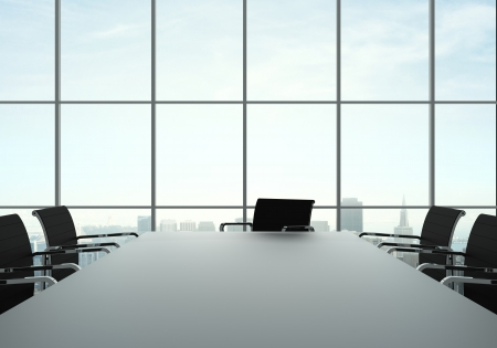 CONFERENCE TABLE: office interior with table and chairs