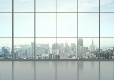 windows: office interior and city view