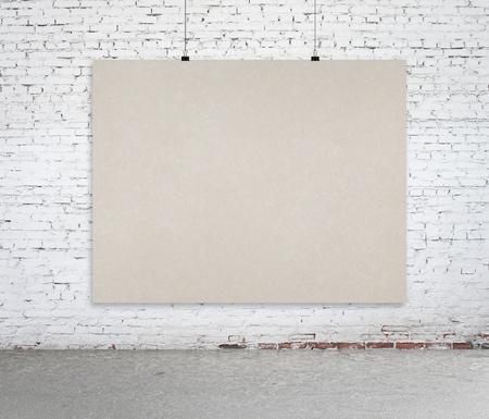 creative writing: brick interior with paper card Stock Photo