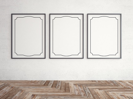vintage frames with herringbone parquet Stock Photo - 18761187