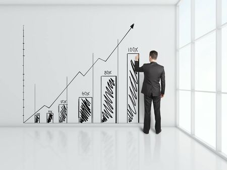 businessman drawing chart at office wall Stock Photo - 18761007
