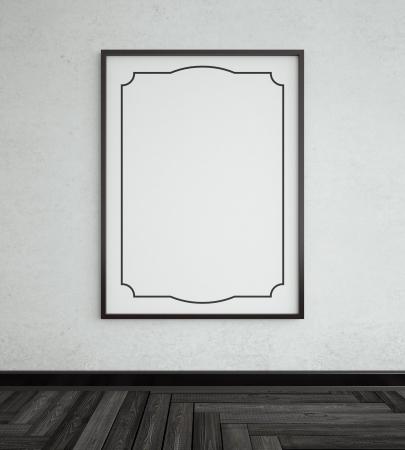 polished floors: black frame and herringbone parquet
