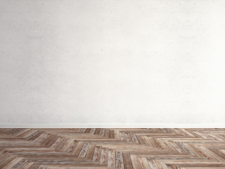 parquet floor: wooden herringbone parquet with wall Stock Photo
