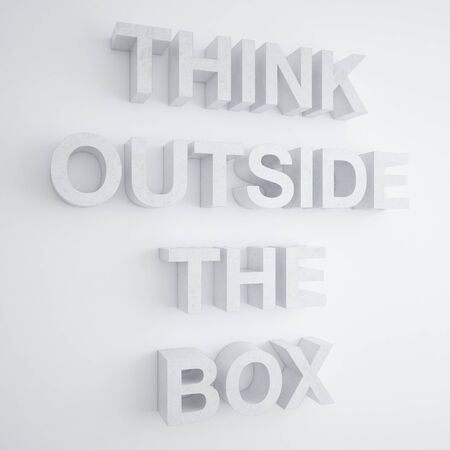 think outside the box on a white wall photo
