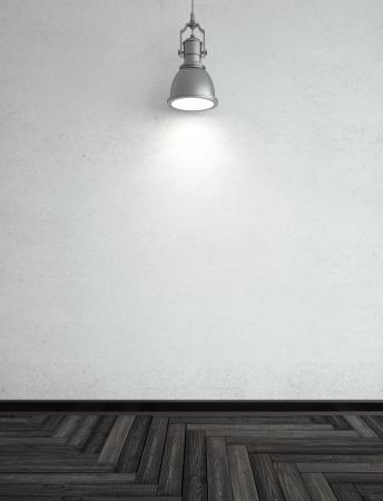 polished floors: herringbone parquet in room and lamp